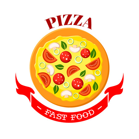 Pizza icon. Fast food snack vector isolated emblem of italian cuisine food. Margherita or Neapolitan traditional flatbread pizza with mozzarella cheese, salami sausage, onion and mushrooms. Fastfood sign for pizzeria takeaway menu or delivery Illustration