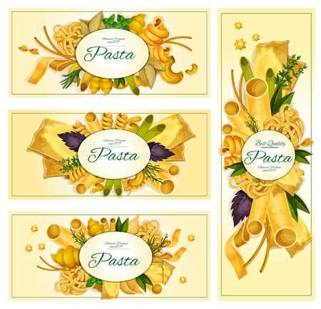 Pasta vector banners set. Macaroni sorts for Italian cuisine restaurant menu. Spaghetti varieties of tagliatelli, ravioli, farfalle, penne, lasagna, pappardelle, konkiloni, bucatini, with spice herbs seasonings basil, parsley, oregano and rosemary