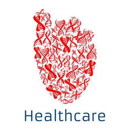 forme et sante: symbole en forme de coeur combinée de l'hélice de l'ADN humain. affiche Santé avec le coeur humain rouge avec la conception de cellules de gène spirale pour la cardiologie santé, centre de santé ou à l'hôpital, la génétique et de la recherche en microbiologie