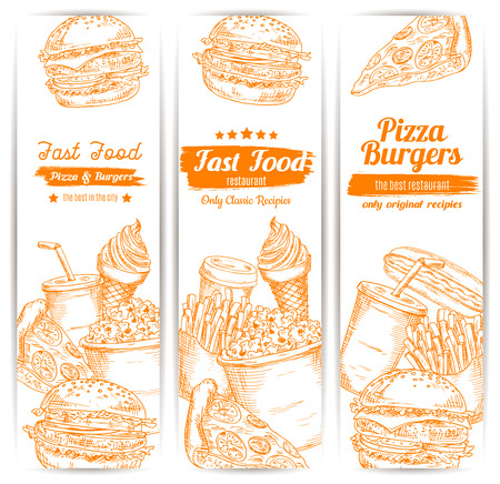 チーズバーガー ハンバーガーやハンバーガー、フライド ポテト、ピザ、ホットドッグのサンドイッチ、コーヒー カップやソーダを飲む、アイス ク  イラスト・ベクター素材