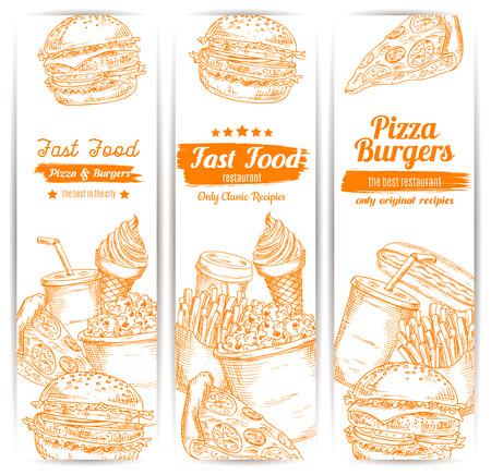 fastfood: Nhanh chóng phác thảo thực phẩm biểu ngữ dọc burger phô mai hoặc bánh hamburger, khoai tây chiên và bánh pizza, bánh sandwich chó nóng, cốc cà phê và uống soda, kem tráng miệng. Thiết kế Vector thiết cho bữa ăn fastfood giao hàng hoặc takeaway