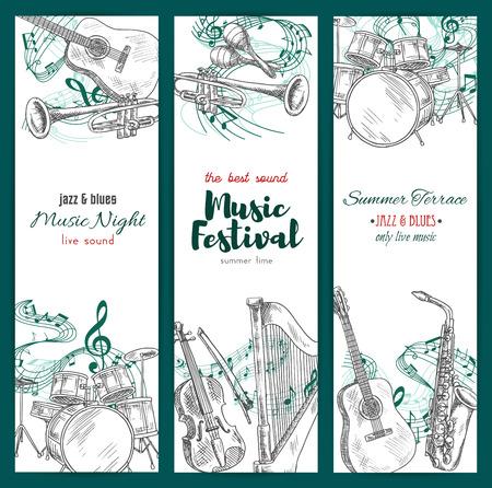 楽器のバナー。ジャズ音楽祭のベクター スケッチ デザイン。音部記号やサックス サックス注ステーブ、ハープ、トランペット、マラカス、ドラム