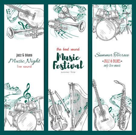 Banners with musical instruments. Vector sketch design for jazz music festival. Vertical set of sax or saxophone and clef note stave, harp and trumpet, maracas and drums kit, acoustic guitar and piano with violin for live sound concert Çizim