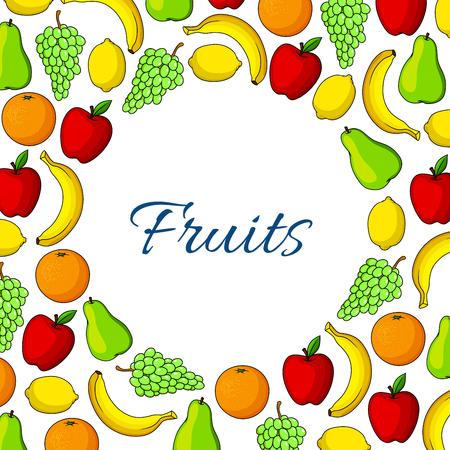 white grape: Fruits poster of farm garden apple, juicy white or green grape, pear, orange or tangerine. Exotic banana and tropical citrus lemon. Vector fresh ripe fruits harvest design for store