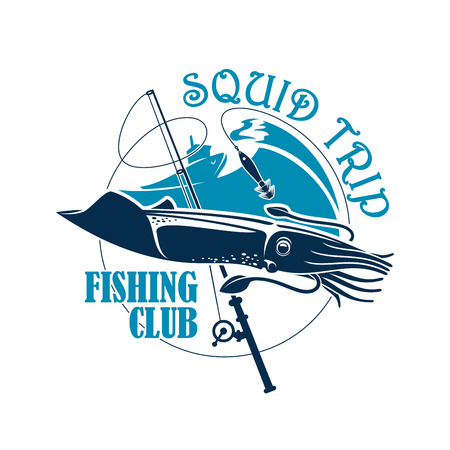 Sea or ocean fishing icon. Squid fisherman or fisher trip sport or adventure club badge or emblem with vector symbols of cuttlefish, fishing rod with hook and float, fishery boat or ship and blue waves
