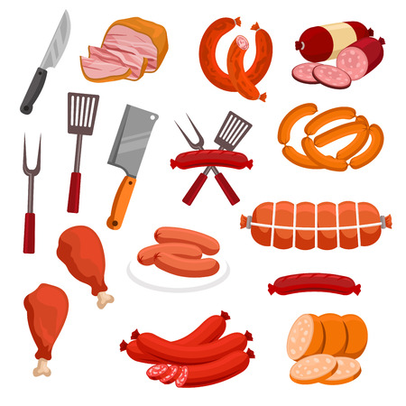 veal sausage: Meat and sausages vector icons. Butchery or butcher shop meat food products and delicatessen. Isolated grilled chicken legs and sliced pork bacon, beef ham and meaty wurst sausages, salami and smoked pepperoni with forks and knife hatchets