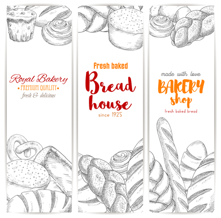 wheat bread: Bread sketch banners. Bakery vector bread sorts wheat bagel, white wheat toast bread, rye loaf brick or loaf, sweet sesame roll bun and croissant, braided bread and cupcake, fresh baked pretzel and crunch pie. Design for premium pastry baker shop