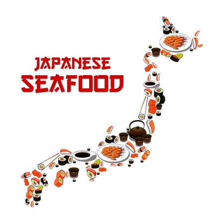 grilled salmon: Japanese seafood in shape of Japan map. Vector Sushi, sashimi and seafood dish. Oriental cuisine restaurant food of grilled shrimps, steamed rice with salmon caviar or tuna fish, noodle seaweed miso soup, wasabi, soy sauce and chopsticks
