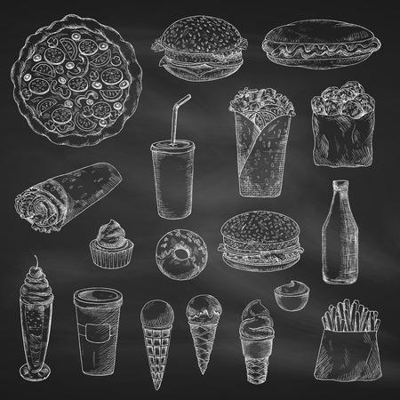 패스트 푸드 스케치 격리 된 아이콘입니다. 벡터 칠판에 간식 및 음료 칠판에 햄버거 또는 치즈 버거 샌드위치와 감자 튀김, 버 리 토 또는 케밥 도너