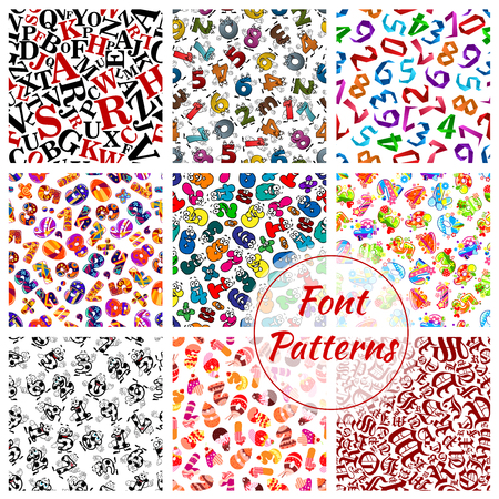 numerals: Font letters and numbers vector seamless patterns set. ABC alphabet of fairy cartoon and gothic writing symbols of sport balls, origami, birthday numerals of desserts and digits character. Red, green and yellow, blue and red background tiles