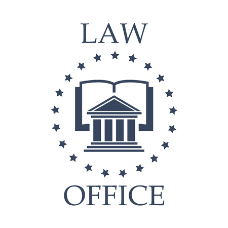 juridical: Juridical or law icon for advocate or lawyer office. Vector emblem of advocacy or legal company. Badge with symbol of roman atrium, code book or lawbook and stars wreath for attorney or notray barrister service center