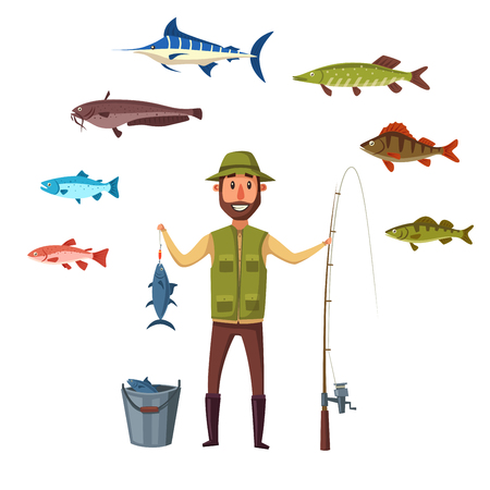 Fisherman with fishing rod and fish catch in bucket. Happy fisher man holding fish on hook. Sea or river isolated vector fishes of marlin, pike and salmon, trout, catfish and burbot, ruff, crucian carp and roach or perch