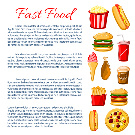 fast meal: Fast Food nutrition information poster. Junk food meal of vector snacks, drinks and desserts. Burgers cheeseburger or hamburger, hot dog sandwich and french fries, pizza, chicken leg grill and popcorn, ice cream, soda and coffee