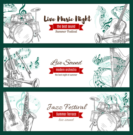 fiddlestick: Music jazz festival banners set with musical instruments sketch. Vector acoustic guitar and piano with violin bow, sax or saxophone and clef note stave, harp and trumpet, maracas and drums kit with cymbals for jazz live sound concert