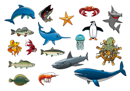 crucian: Fish and sea animals creatures of cartoon dolphin, tuna, star fish, lobster crab and shrimp, hammerhead shark, marlin or swordfish, jellyfish, penguin, trout and salmon, flounder, octopus on ship helm and whale. Vector isolated icons