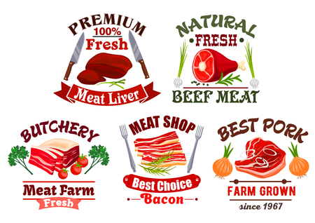 salty: Fresh meat icons. Butchery or butcher shop isolated vector emblems with liver, tenderloin ham or sirloin jamon, smoked bacon and salty lard, T-bone beefsteak or filet chop steak. Farm grown pork, beef, veal or mutton meaty products