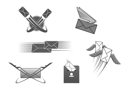 post mail: Mail or letter icons set. Vector emblem for post office or express postal delivery. Isolated symbol of envelope with wings and arrows, post box, world globe and flying plane or aircraft cargo. Internet web mail interface signs