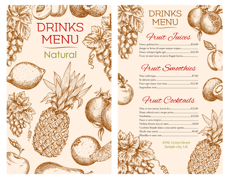 cocteles de frutas: Drink menu sketch for fresh fruit juices, drinks, smoothie and cocktails of vector natural healthy organic farm fruits citrus lemon with grape bunch and juicy pomegranate, apple, apricot and pear, tropical pineapple, orange and kiwi