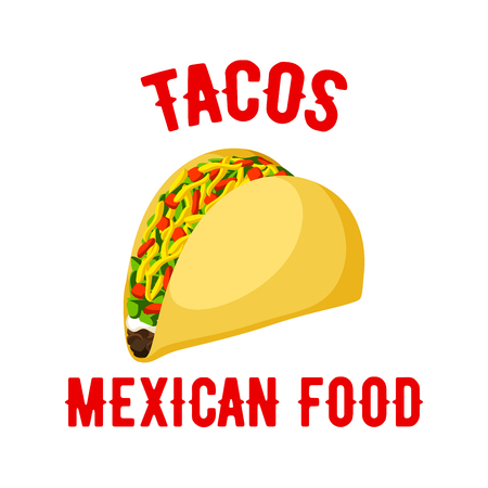 corn meal: Tacos icon. Mexican fast food snack vector isolated emblem of spicy taco. Corn or wheat tortilla with vegetables or bee of chicken meat filling, fresh meat cutlet and vegetables lettuce. Fastfood meal symbol or sign for takeaway menu or delivery Illustration
