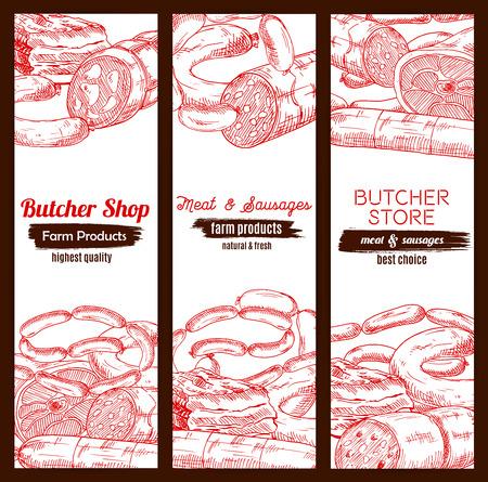 Fleisch Banner Skizze. Fleischereigeschäft oder Metzgerei Fleischprodukte Schweinefleisch Speck und Schinken Jamon, Rind- oder Kalbfleisch Fleischkäse, Salami oder Salami kielbasa, geräucherte Rippchen und wurst Wurst, frischem Schmalz und Feinkost
