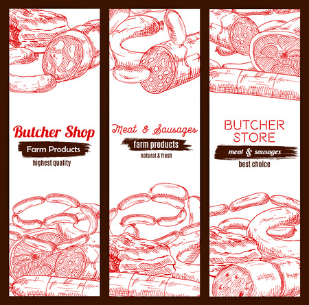 Meat banners sketch set. Butchery store or butcher shop meaty products pork bacon and ham jamon, beef or veal meat loaf, pepperoni or salami kielbasa, smoked ribs and wurst sausages, fresh lard and delicatessen Illustration