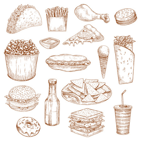 mayonnaise: Fast Food icons. Vector isolated sketch sandwich and hamburger or cheeseburger, chicken leg and french fries, hot dog and ice cream, pizza and popcorn. Junk food nachos chips, mexican tacos, burrito or kebab, soda drink bottle and donut Illustration