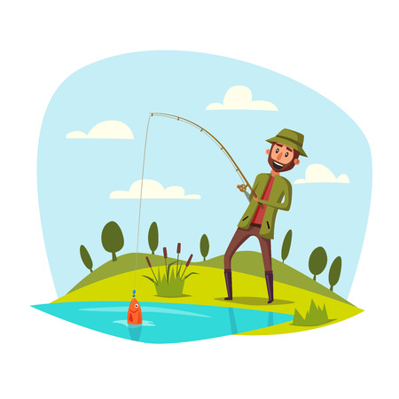 river water: Man catching and pulling fish out of lake or river water with rod. Fisherman sport recreation leisure or nature weekend adventure. Fish hanging on fish-rod hook. Vector happy man with catch
