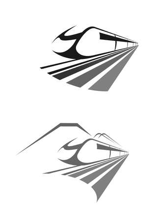 railway transportation: High speed train icon. Intercity express rail or railway transport. Vector emblem for urban monorail metro underground tram vehicle, cargo or passengers long distance transportation or logistics company