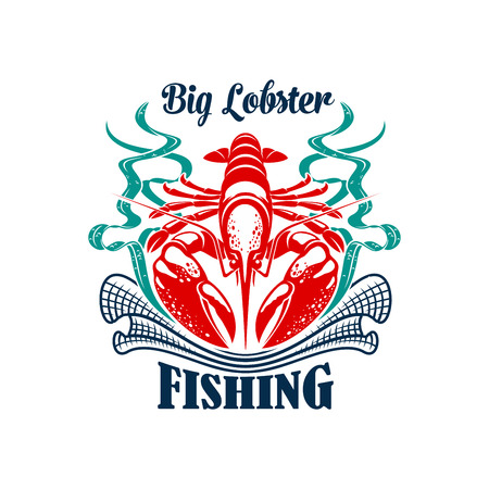 crawfish: Fishing icon of big ocean lobster with fisherman fishing net or fishnet seine and seaweed. Fishery industry emblem or badge for recreation sport fishing or fish food company