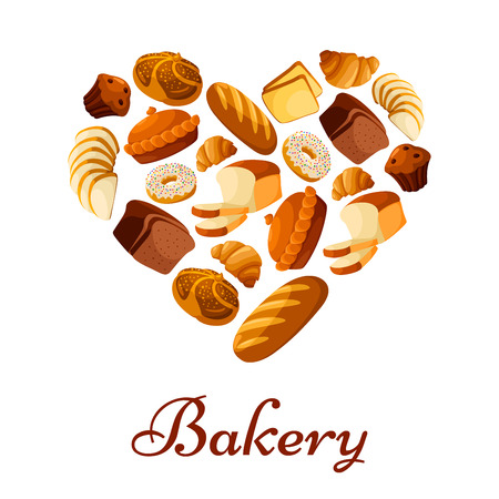Heart of bread. Bakery vector poster of sliced wheat bread toasts, crunch pie or cake, wheat bread loaf, rye brick or bagel, glazed donut or cupcake dessert, sweet croissant and chocolate muffin. Design for patisserie, baker shop