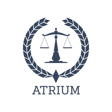 lawyers: Juridical or legal center or company icon. Atrium emblem with Scales of Justice symbol and heraldic laurel wreath. Vector badge for advocate office, law attorney or lawyer, advocacy and rights service or notary