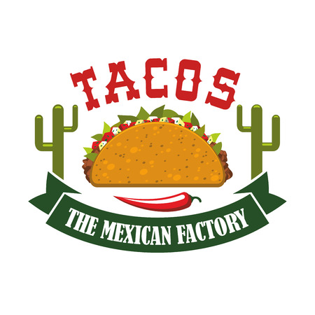 agave: Tacos restaurant icon with spicy red chili pepper jalapeno and agave or cactus peyote. Mexican fast food tortilla snack vector isolated emblem, symbol or sign for tacos takeaway menu or delivery