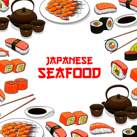 grilled salmon: Sushi restaurant vector poster with Japanese seafood sushi, sashimi and seafood dish. Oriental Japan cuisine restaurant food of steamed rice with salmon caviar or tuna fish, grilled shrimps, noodle seaweed miso soup, wasabi, soy sauce and chopsticks