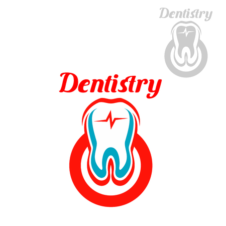odontology: Dentistry emblem with vector symbols of white tooth with red circle and heart pulse. Isolated icon for dentist, stomatology clinic or dental surgeon. Sign of healthy tooth and gum for tooth paste or healthy product design Illustration