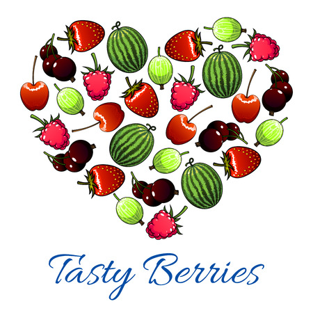 sweet heart: Berries and fruits poster in heart shape. Vector fresh garden strawberry, cherry, forest raspberry, black currant or redcurrant, juicy gooseberry and sweet watermelon. Ripe farm berries harvest