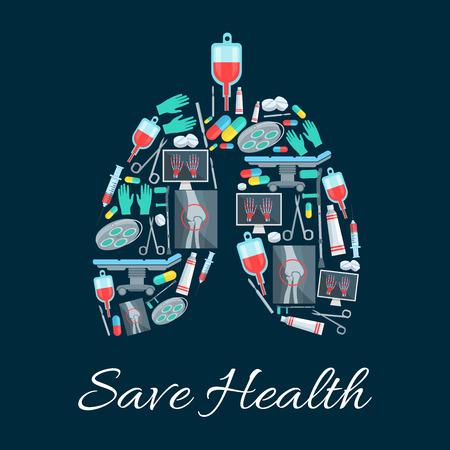 Cartel de medicina en forma de órgano de los pulmones humanos diseñado de instrumentos médicos, píldoras y artículos. Ahorrar salud vector sanitaria cirujano bisturí y tijeras, mesa de operaciones de cirugía, rayos X de las extremidades de la mano y las articulaciones de las rodillas muleta, medicamentos de terapia