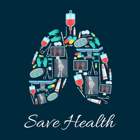 Medicine poster in shape of human lungs organ designed of medical instruments, pills and items. Save health vector healthcare surgeon scalpel and scissors, surgery operation table, X-ray of hand limbs and knee joints crutch, therapy drugs Illustration