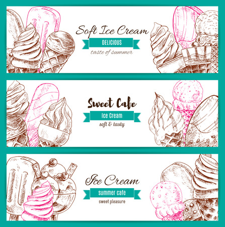 frozen fruit: Ice cream sketch banners. Vector frozen fresh and sweet fruity desserts assortment set of soft ice cream in wafer cone, glazed eskimo. whipped cream and fruit ice, chocolate creamy sundae and fresh vanilla ice cream scoops in glass bowl Illustration