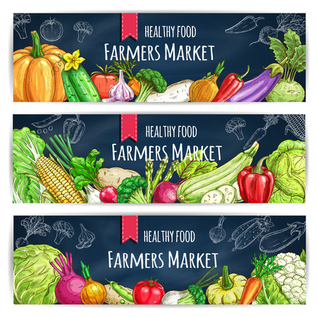 Vegetable banner set with veggies chalk sketch on blackboard. Tomato, pepper, broccoli, carrot, garlic, cabbage, onion and eggplant, radish, corn and potato, pea, cucumber, beet for farmers market design Illustration