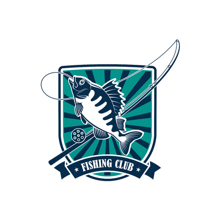 badge with ribbon: Fishing icon. Fisherman or fisher sport adventure club round badge or emblem with vector symbols of fishing rod with hook and float, river perch, ruff or carp fish with blue ribbon design
