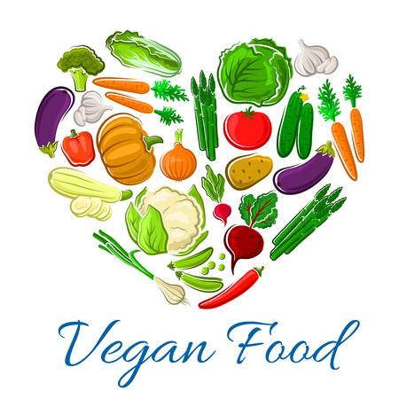 Vegetables farm greens poster in heart shape. Vector fresh veggies chili pepper, chinese cabbage and cucumber. Harvest of carrot, garlic, eggplant and onion leek. Vegetarian organic pumpkin, squash zucchini, corn and asparagus, radish and tomato Illustration