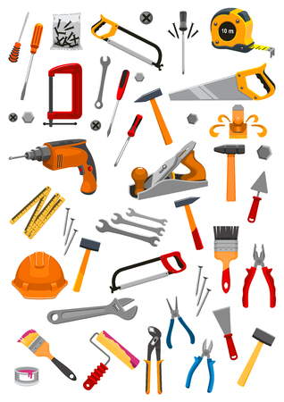 Work tools icons set of vector isolated instruments for repair, carpentry, building and home fix tape measure ruler, helmet, drill, hammer and saw, spanner wrench and screwdriver, plaster trowel and paint brush roll, plane, mallet, pliers and vise Çizim