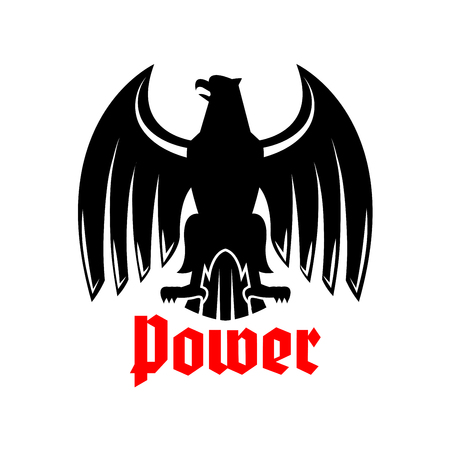clutches: Black heraldic eagle icon. Vector emblem of imperial or royal hawk or falcon symbol. Gothic predatory bird with spread wings, sharp clutches and open beak. Griffin heraldry sign for blazon, sport team mascot, military shield or security badge