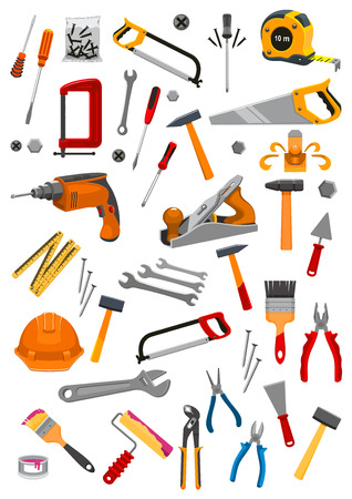 vise: Work tools icons set of vector isolated instruments for repair, carpentry, building and home fix tape measure ruler, helmet, drill, hammer and saw, spanner wrench and screwdriver, plaster trowel and paint brush roll, plane, mallet, pliers and vise Stock Photo