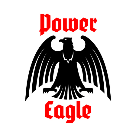 clutches: Black heraldic eagle icon. Vector isolated royal or imperial emblem of black vulture or griffin predatory bird. Vector blazon or coat of arms with royal hawk or gothic falcon symbol of power with spread wings, sharp clutches. Heraldry sign or badge