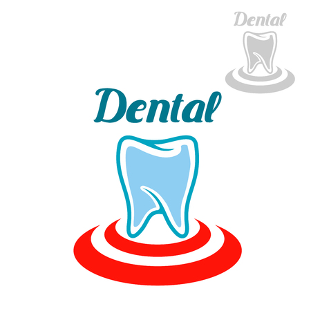 gum paste: Dental icon or emblem with vector symbol of white tooth on red circle. Isolated sign or badge for tooth paste, mouthwash or dental floss treatment product packaging design, dentist clinic, stomatology or dental surgeon office