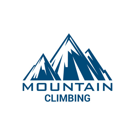 Mountain climbing badge or vector emblem. Isolated icon with blue mountains for climb sport adventure, mountaineering trip adventure, winter nature tourist camping, skiing or snowboarding outdoors sports resort. Symbol of Alpine rocks snowy peaks