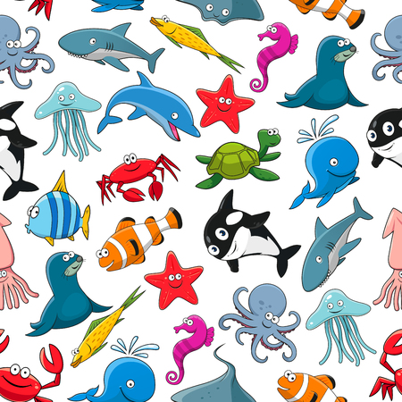 flounder: Seamless pattern of vector cartoon sea fish and ocean animals lobster crab, octopus, stingray and penguin, turtle, clown fish or flounder and tropical butterfly fish, starfish and seahorse, squid and jellyfish, seal, dolphin and shark whale