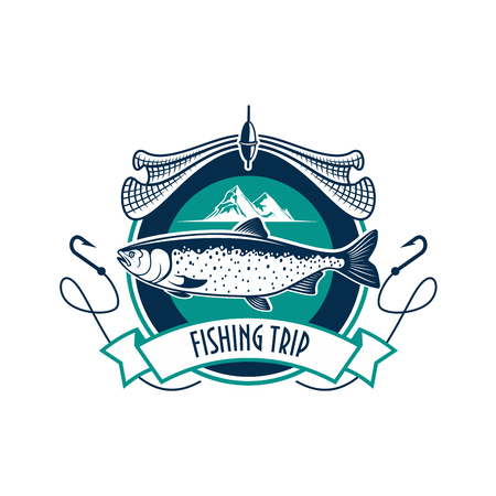 salmon fishery: Fishing icon. Fishery industry or fisher trip sport club vector isolated round badge sign with humpback salmon, trout cod or sturgeon fish, fishing rod with hook, fishing net, and fisherman ship boat vessel in sea or ocean