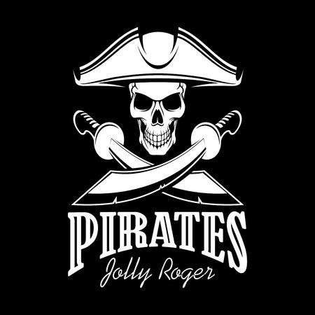 tricorne: Pirates black flag poster. Symbol of Jolly Roger skeleton skull in tricorn or tricorne captain pirate hat and crossed swords or sabers. Vector design for entertainment party decor, alcohol drink bar or pub emblem or sign Illustration